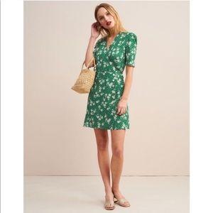 Rouje Gabinette Wrap Mini Dress Green Floral 34